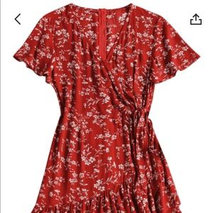 knotted floral a-line dress